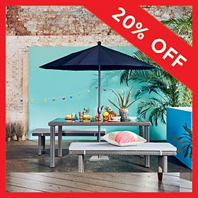 Garden furniture with parasol