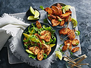 Plant Kitchen no-chicken chunks served with avocado and lime wedges