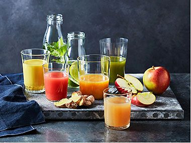 Glasses of fruit juice