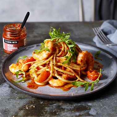 Rose harissa prawn linguine