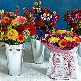 Vases of spring flowers