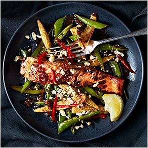 Plate of salmon stir fry