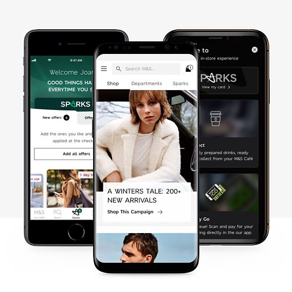 The free M&S app on mobile