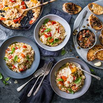 Sweet pepper and pesto store-cupboard risotto