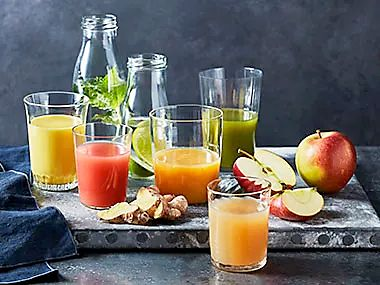 Glasses of fresh fruit juice
