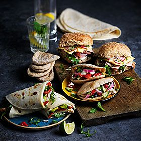 Salad wraps, pittas and rolls