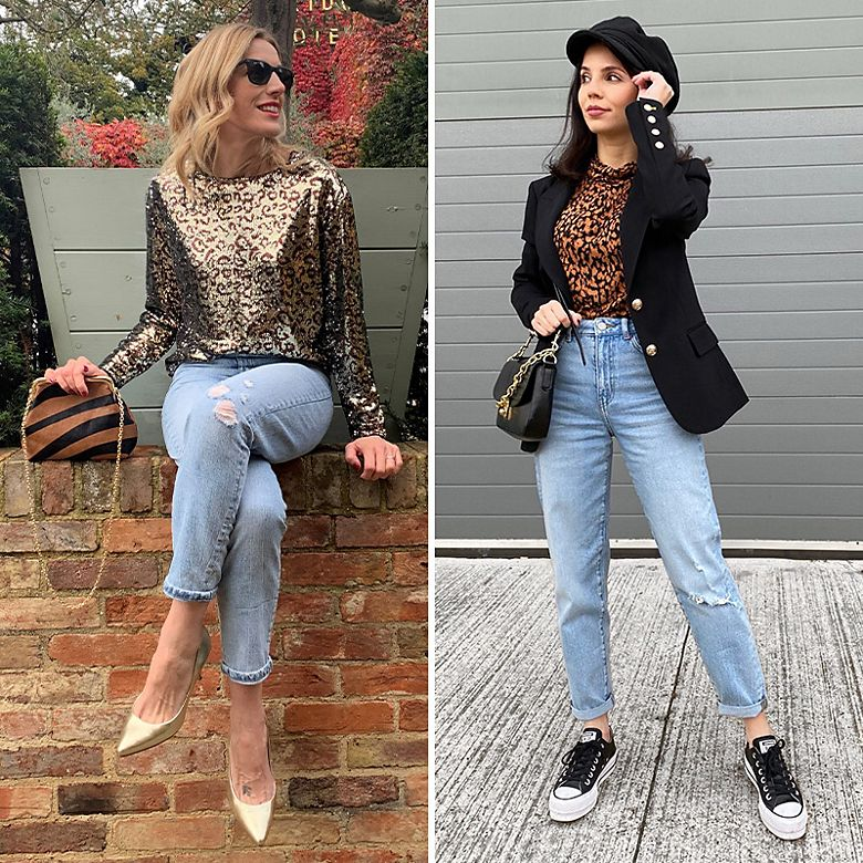 Charlotte (left) and Patrycja wearing M&S boyfriend jeans
