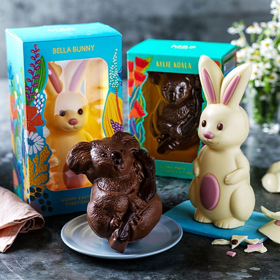 Bella Bunny and Kylie Koala chocolate Easter eggs