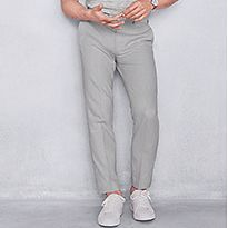 Man wearing pale grey smart trousers