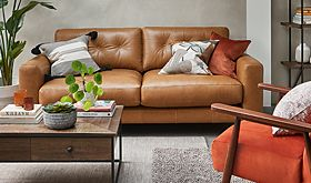 Brown leather sofa in a living room
