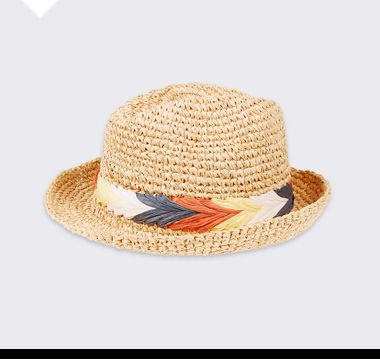 Kids' straw boater beach hat