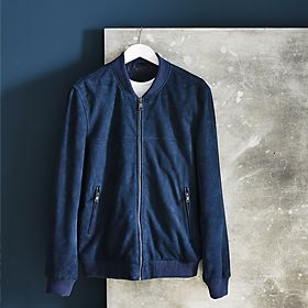 Men's blue suede bomber jacket