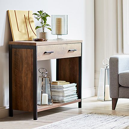 Wooden sideboard with decorative accessories