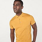 Man wearing knitted yellow polo shirt