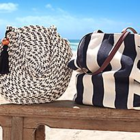 Stylish beach bags in the sunshine