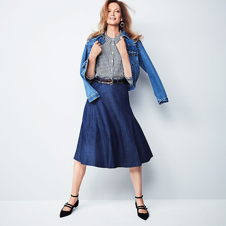 Model Rachel Boss wears denim jacket, check shirt, chambray midi skirt and pointed flats