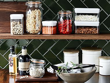 Kilner jars and containers filled with ingredients