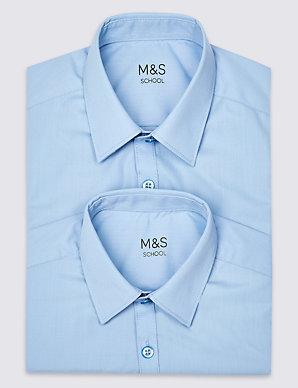 fc18b3b1b 2 Pack Boys' Slim Fit Non-Iron Shirts   M&S