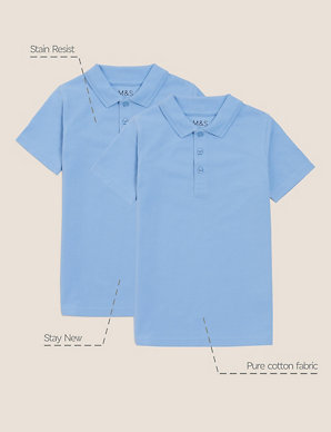 50d3a46ada7 2 Pack Boys' Slim Fit Polo Shirts | M&S
