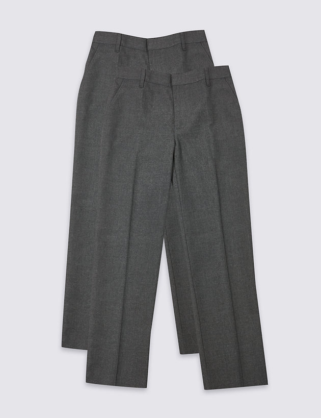 New M/&S Boys Grey School Trousers Size 3-4 Years