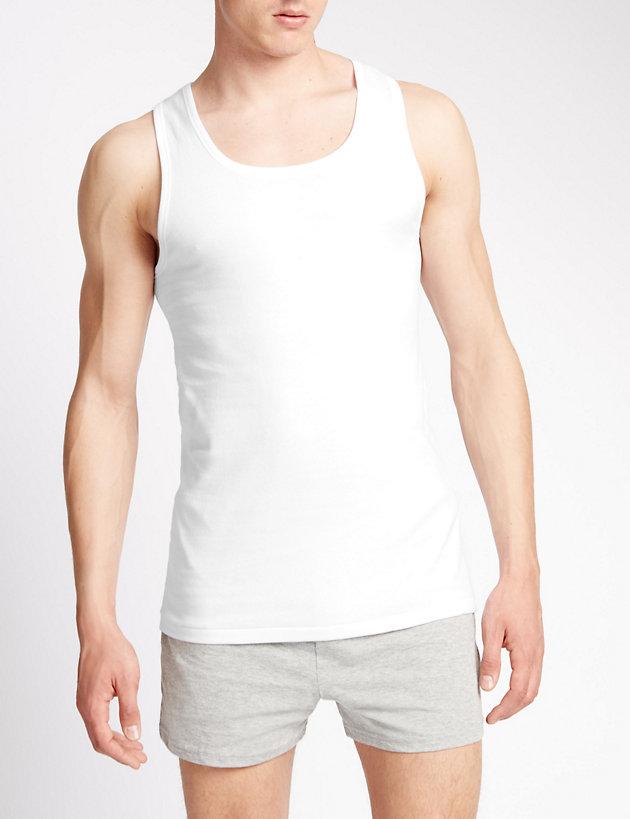 Mens Underwear 100/% Pure Cotton Sleeveless Vest in Pack of 3 White U Shape Vest