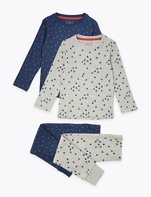 265d2488516f6 2 Pack Cotton Triangle Print Pyjama Set (1-7 Years) | M&S