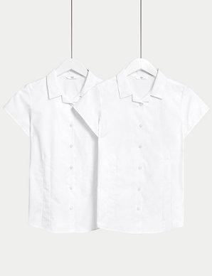 74429de99af496 2 Pack Girls' Regular Fit Easy to Iron Blouses | M&S