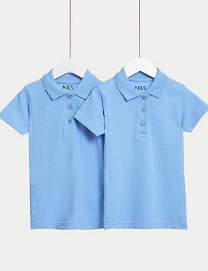 f47e3e37f04 2 Pack Girls' Slim Fit Polo Shirts | M&S