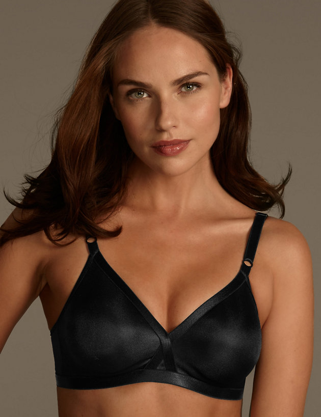 M/&S ALMOND Non wired Non Padded Silken sheen Soft Cup Bra with Crossover strap