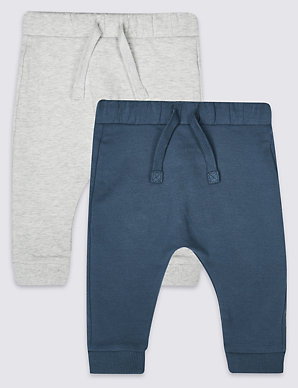 5c608ecf3 2 Pack Organic Cotton Joggers with Stretch | M&S