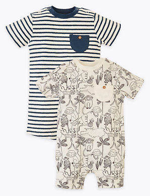 Baby Boy 2-Pack Fit Cotton Botton Romper Pajamas /& Short Sleeve Summer Clothes