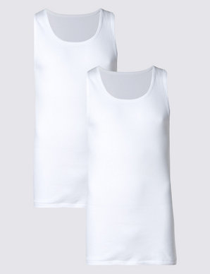 4a0c564f8887e0 2 Pack Pure Cotton Sleeveless Vests with StayNEW™ | Classic | M&S