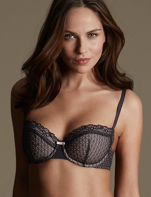 99568bc55 2 Pack Textured Push-Up Balcony Bras A-E
