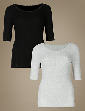 faMouS store White pointelle short sleeve thermal top sizes 6-20