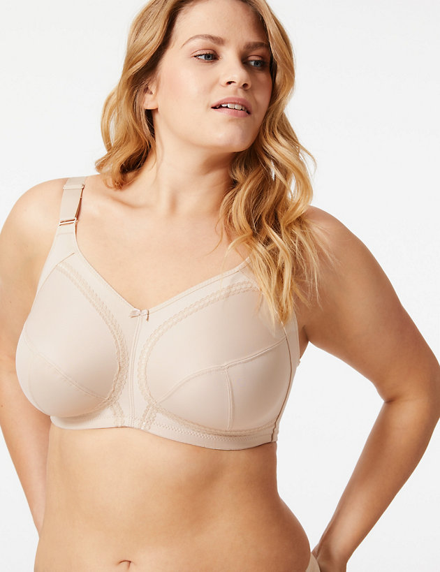 M/&S Cotton Rich Full Cup Support Bra Cool Comfort /& Some Smoothing