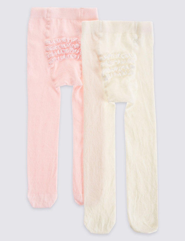 NEW Baby Girls Tights 0 3 6 9 12 18 Months Soft Cotton Rich Pink White Fun Bum
