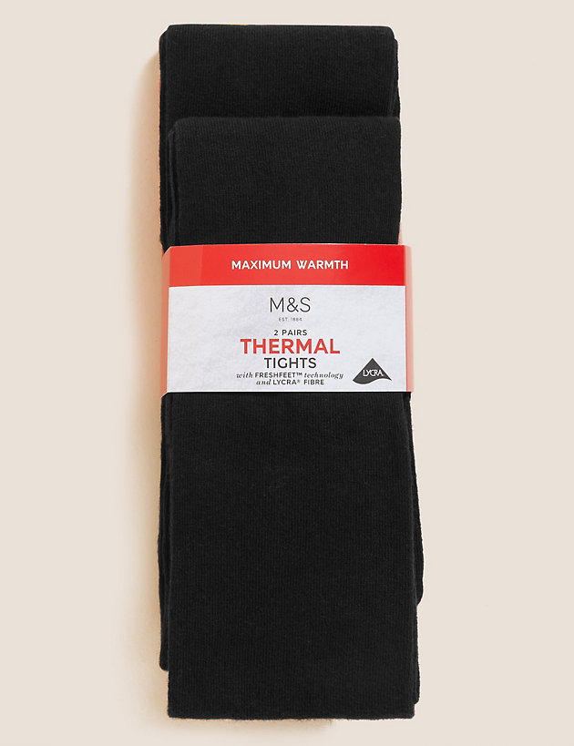 2 Pack of Wool Thermal Tights (4-14 Years)