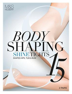 5d2a29af0 2 Pair Pack 15 Denier Secret Slimming trade  Shine Body Shaper Tights