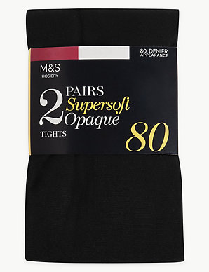 a1fbded3910 2 Pair Pack 80 Denier Supersoft Tights