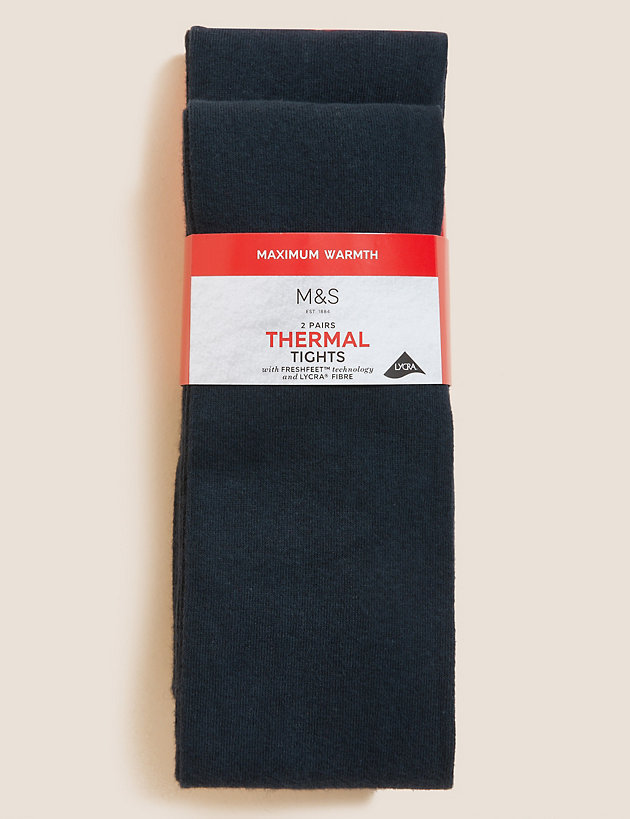 2 Pairs of Thermal Tights (4-14 Years)