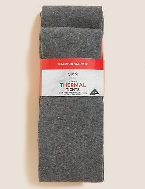 a455e540a1ecf 2 Pairs of Wool Thermal Tights (4-14 Years) | M&S