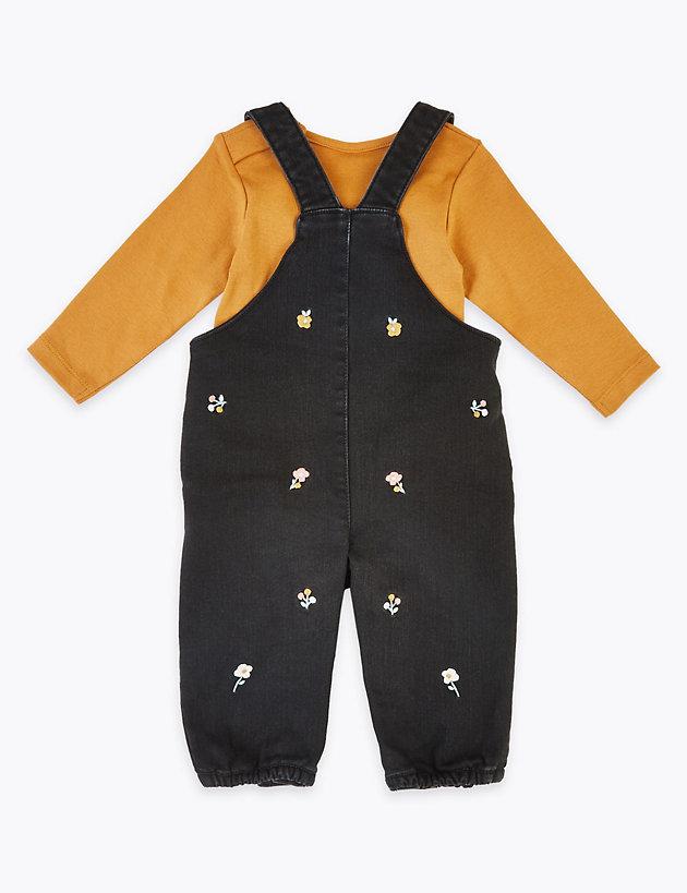 M/&S baby boy romper dungaree 6-9,9-12months