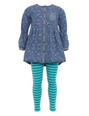 4a12daa0e51 2 Piece Cotton Rich Denim Tunic & Leggings Outfit   Indigo Collection   M&S