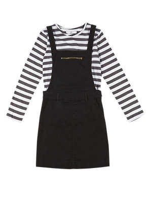 16d27f12b25ac 2 Piece Cotton Rich Pinafore Dress & T-Shirt Outfit (5- 14 Years) | M&S