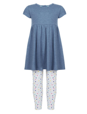 80418f7607f 2 Piece Cotton Rich Tunic & Leggings Girls Outfit (1-7 Years)   M&S