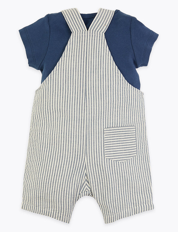 Marks /& Spencer Baby Girls 3-6 Month Pretty Navy Stripe Dress /& Vest RRP £16
