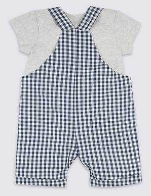 4889b8065c1aa1 2 Piece Gingham Dungarees with Bodysuit | M&S