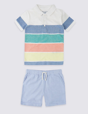 fa4688af3b 2 Piece Pure Cotton Polo Shirt with Shorts Outfit (3 Months - 7 Years)