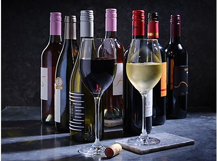 A selection of wine in bottle and glasses