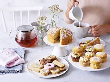 Spread of afternoon tea treats